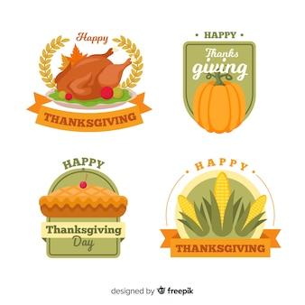 Collection d'étiquettes de thanksgiving en style dessiné à la main