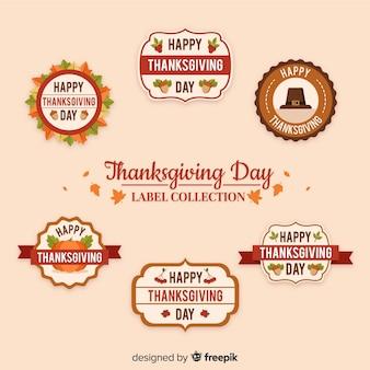 Collection d'étiquettes de thanksgiving vintage
