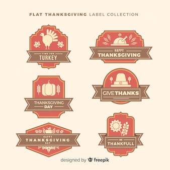Collection d'étiquettes de thanksgiving vintage