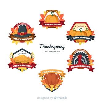 Collection d'étiquettes de thanksgiving