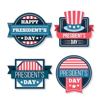 Collection d'étiquettes avec le thème de la journée des présidents