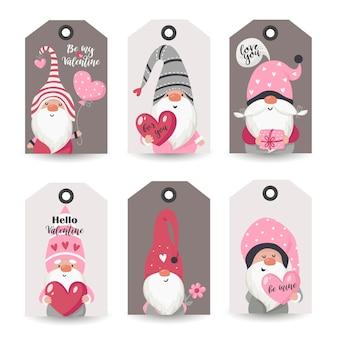 Collection d'étiquettes avec valentine gnomes et souhaits de vacances. modèles de cartes imprimables.