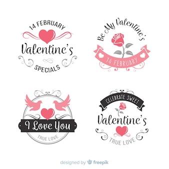 Collection d'étiquettes valentine
