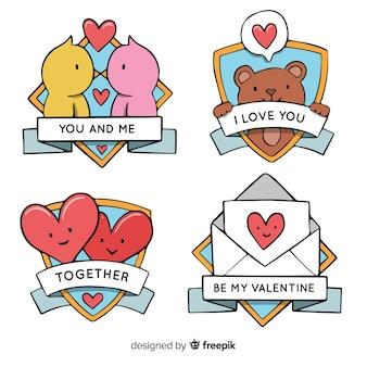 Collection d'étiquettes de valentine
