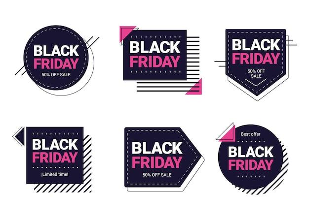 Collection d'étiquettes de vendredi noir plat
