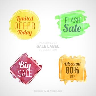 Collection d'étiquettes de vente aquarelle