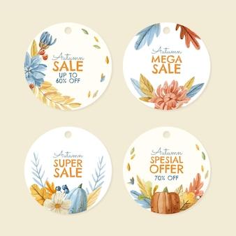 Collection d'étiquettes de vente automne aquarelle
