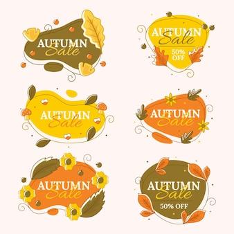 Collection d'étiquettes de vente d'automne dessinées à la main