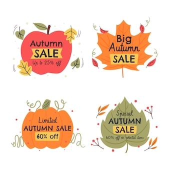 Collection d'étiquettes de vente d'automne plat dessinés à la main
