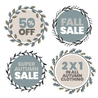 Collection d'étiquettes de vente d'automne plat