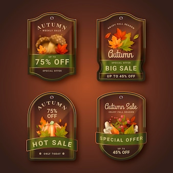 Collection d'étiquettes de vente d'automne réaliste