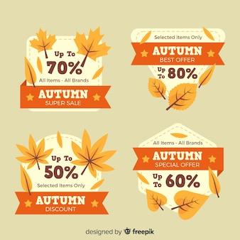 Collection d'étiquettes de vente d'automne