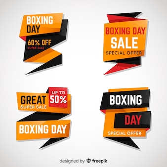 Collection d'étiquettes de vente boxing day