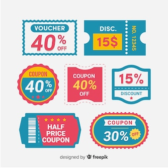 Collection d'étiquettes de vente de coupon moderne avec un design plat