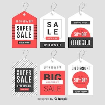 Collection d'étiquettes de vente de coupon moderne avec un design plat