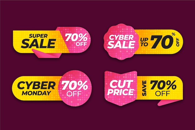Collection d'étiquettes de vente de cyber lundi dégradé