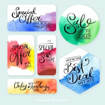 Collection d'étiquettes de vente dans un style aquarelle