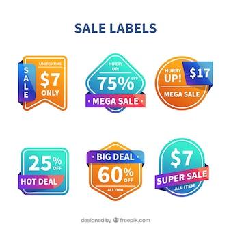 Collection d'étiquettes de vente de dégradé