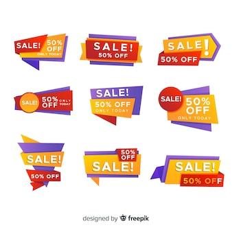 Collection d'étiquettes de vente dégradées