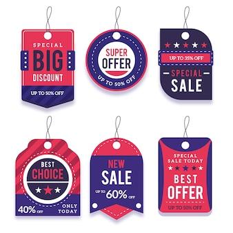 Collection d'étiquettes de vente design plat