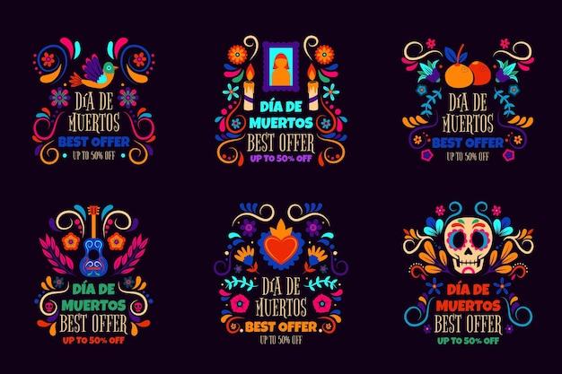 Collection d'étiquettes de vente dia de muertos dessinées à la main