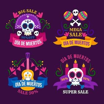 Collection d'étiquettes de vente dia de muertos plat dessiné à la main