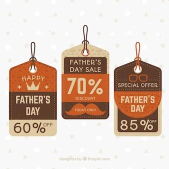 Collection d'étiquettes de vente élégante fête des pères