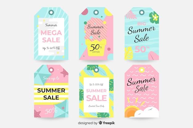 Collection d'étiquettes de vente d'été coloré