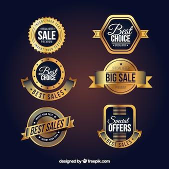 Collection d'étiquettes de vente golden