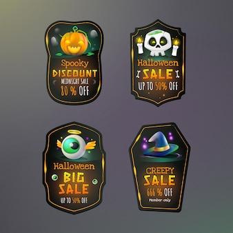 Collection d'étiquettes de vente d'halloween dégradé