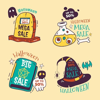 Collection d'étiquettes de vente halloween dessinées à la main