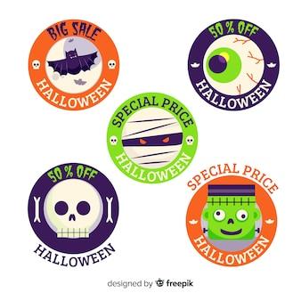 Collection d'étiquettes de vente halloween dessinés à la main