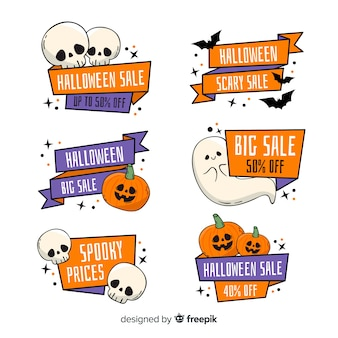 Collection d'étiquettes de vente halloween dessinés à la main