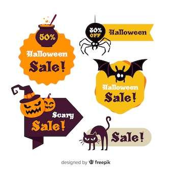 Collection d'étiquettes de vente halloween moderne avec un design plat