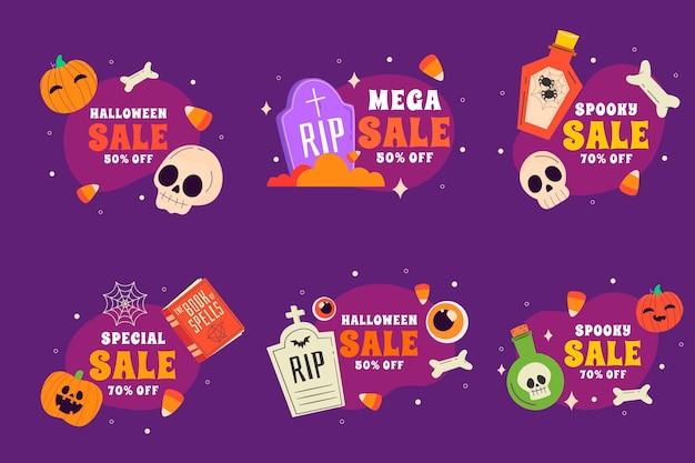 Collection d'étiquettes de vente halloween plat dessinés à la main