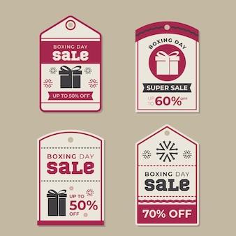 Collection d'étiquettes de vente de jour de boxe design plat