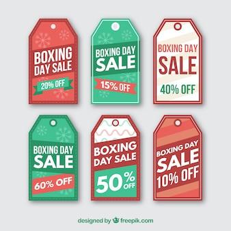 Collection d'étiquettes de vente de jour de boxe