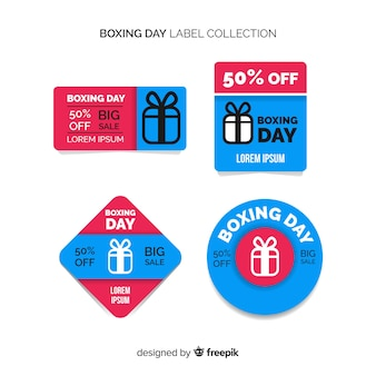 Collection d'étiquettes de vente le jour de la boxe