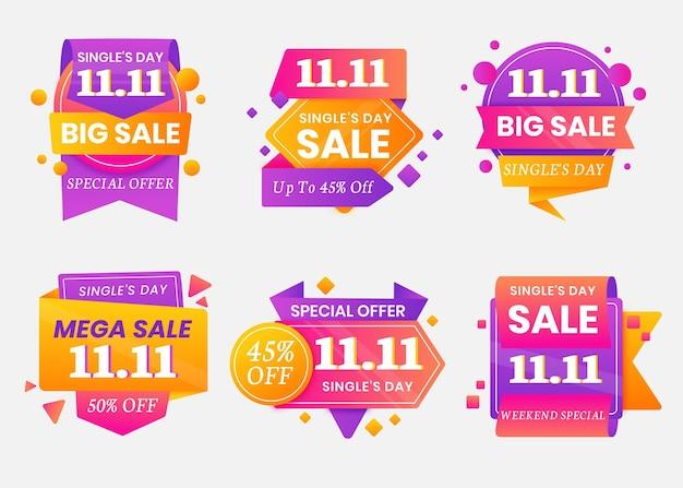 Collection d'étiquettes de vente de jour de célibataire dégradé