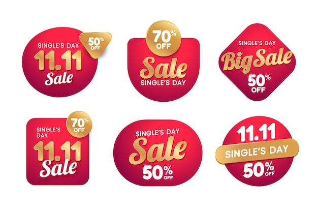 Collection d'étiquettes de vente de jour de célibataire doré et rouge dégradé