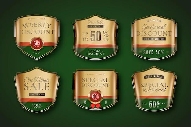 Collection d'étiquettes de vente de luxe doré
