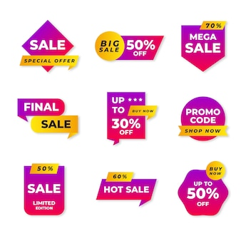 Collection d'étiquettes de vente méga plat
