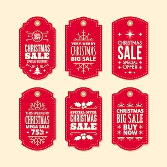 Collection d'étiquettes de vente de noël au design plat
