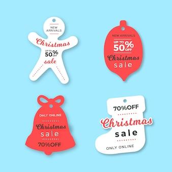 Collection d'étiquettes de vente de noël dans le style de papier