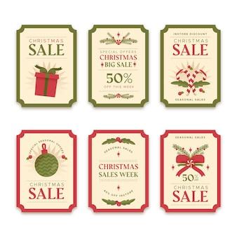 Collection d'étiquettes de vente de noël design plat