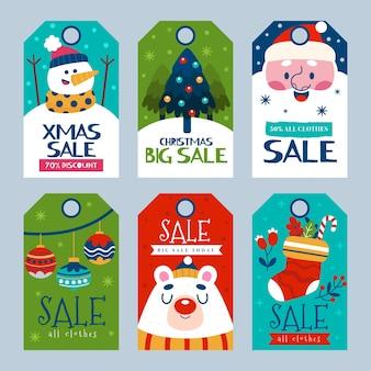 Collection d'étiquettes de vente de noël dessinés à la main