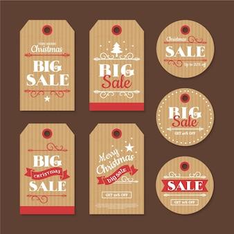Collection d'étiquettes de vente de noël vintage