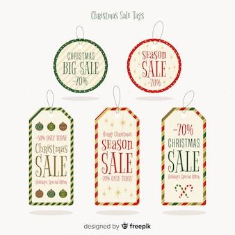 Collection d'étiquettes de vente de noël