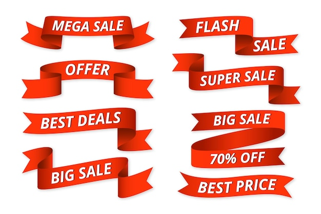 Collection d'étiquettes de vente avec offre