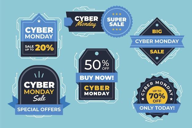 Collection d'étiquettes de vente plat cyber lundi